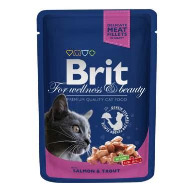 Влажный корм для кошек Brit Premium, лосось, форель, 100г