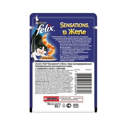 Влажный корм для кошек Felix Sensation, говядина в желе с томатами, 85г