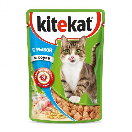 Влажный корм для кошек Kitekat, с рыбой в соусе, 85г