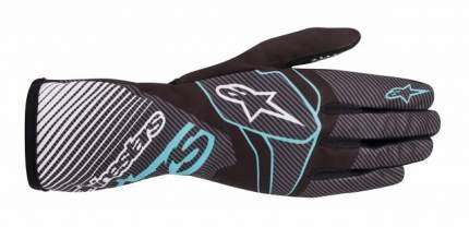 Перчатки для картинга TECH 1 K RACE v2 CARBON,чёрный/бирюзовый,L Alpinestars 3552420_1076_