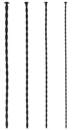 Набор из 4 черных стимуляторов уретры Spiral Screw Plug Set Shots Media BV