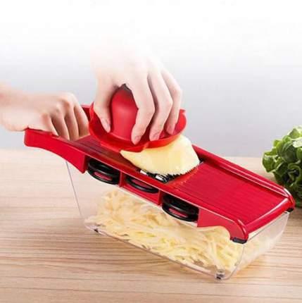 Терка-овощерезка Mandoline Slicer 6 in 1 c контейнером красная
