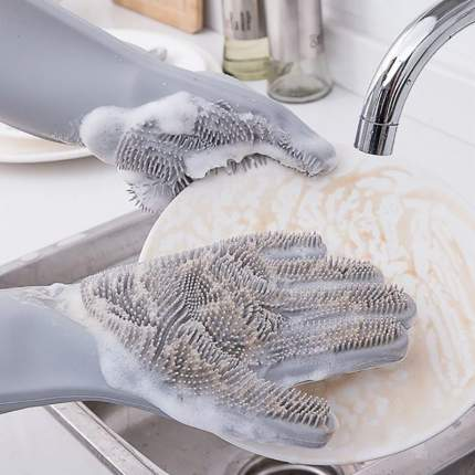 Многофункциональные перчатки Magic Brush серые
