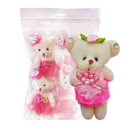 Набор мягких игрушек Мишка в светло-розовом-атлас 5 шт.