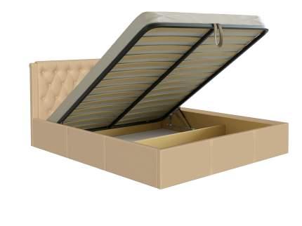 Двуспальная кровать Первый Мебельный Моника бежевый, экокожа, 160х200 см