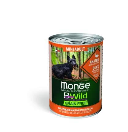 Консервы для собак Monge Mini Adult BWild Grainfree, с уткой, тыквой и кабачками, 400г