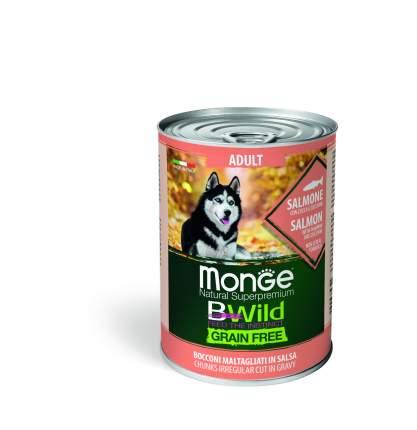 Консервы для собак Monge Adult BWild Grainfree, с лососем, тыквой и кабачками, 400г