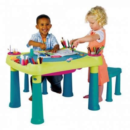 Стол KETER CREATIVE для детского творчества и игр с водой и песком + 2 табуретки, 79x56x50