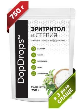 Натуральный сахарозаменитель DopDrops Эритритол со стевией, в 3 раза слаще сахара, 750 г