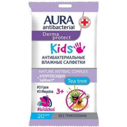 Влажные салфетки Aura antibacterial, детские 3+, 20 шт.