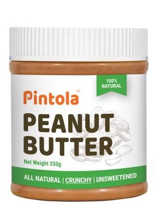 Кремовая арахисовая паста с кусочками арахиса без сахара Pintola Crunchy Natural, 350 гр