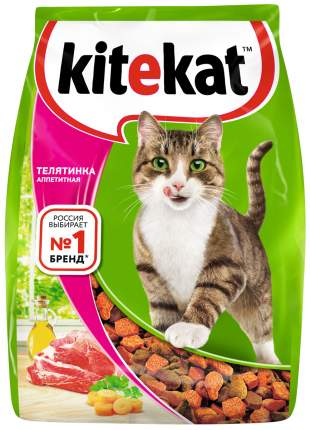 Сухой корм для кошек Kitekat, с аппетитной телятинкой, 0,8кг