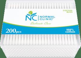 Ватные палочки в квадратной пластиковой упаковке NORMAL Clinic, 200 шт