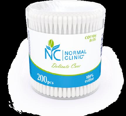 Ватные палочки в круглой пластиковой упаковке NORMAL Clinic, 200 шт