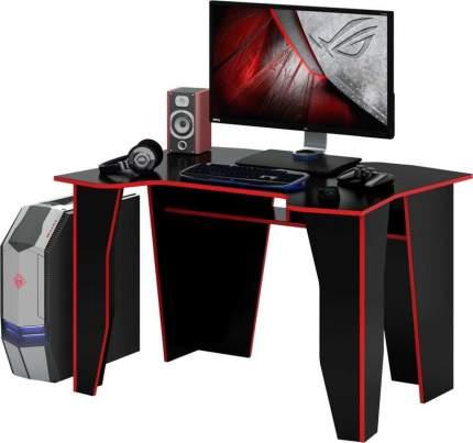 Компьютерный стол МФ Мастер Страйкер 120x89,2x75, черный с красной кромкой