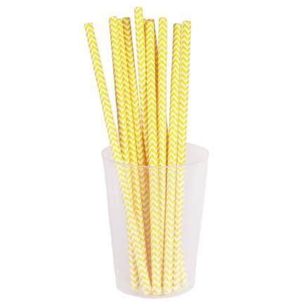 """Набор трубочек, """"Полосатые"""", желтый, 12 шт, 19,5 см, Diligence party DP-STRW-03"""