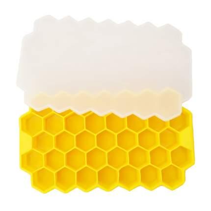 Форма для льда Соты, желтая с крышкой, 20,3х12х2,1 см, Kitchen Angel KA-FORMICE-10