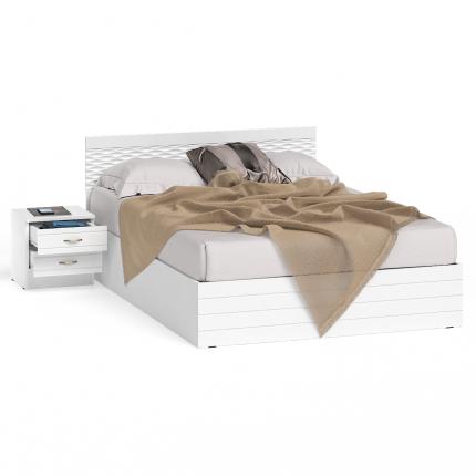 Кровать 1400 с тумбой СВК Ручеек цвет белый