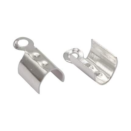 Концевик для круглого шнура, цвет: серебристый, 3x9 мм, 10 штук, 4AR224