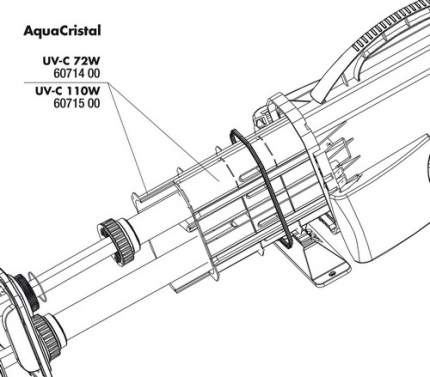 Внутренний корпус УФ-стерилизатора JBL UV-C 72 PP Soket AquaCristal UV-C 72W
