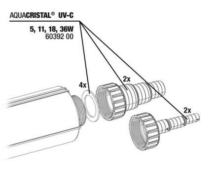 Комплект концевиков для шлангов с уплотнительными прокладками JBL для ProCristal UV-C, 4шт