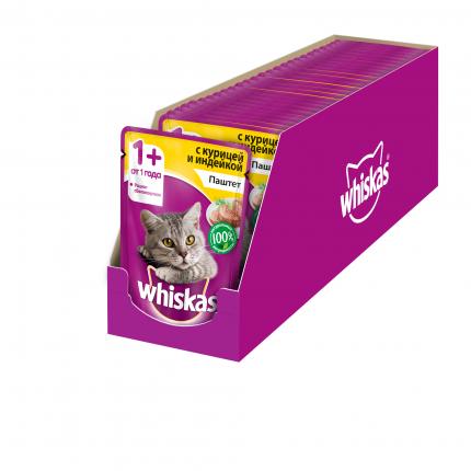 Влажный корм для кошек Whiskas паштет из курицы с индейкой, 85г