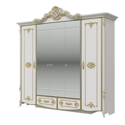 Шкаф 5-ти дверный Мэри-Мебель Дольче Вита СДВ-01 белый глянец с золотом, 247х64х240