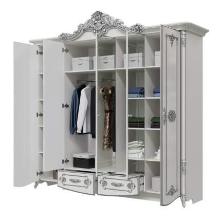Шкаф 5-ти дверный Мэри-Мебель Дольче Вита СДВ-01 белый глянец с серебром, 247х64х240
