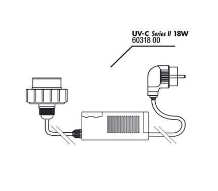 Крышка корпуса с цоколем лампы с блоком питания JBL для UV-C стерилизатора 18 ватт
