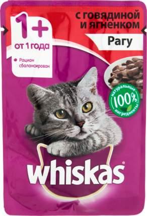 Влажный корм для кошек Whiskas рагу с говядиной и ягненком, 85г