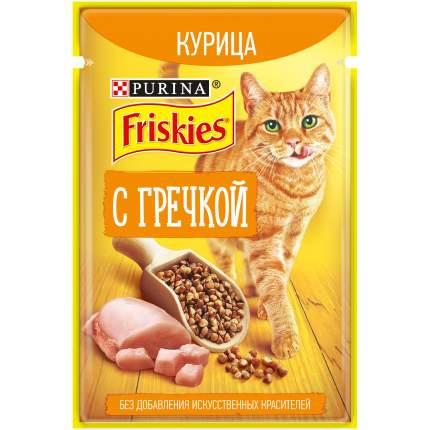 Влажный корм для кошек Friskies, с курицей и гречкой в подливе, 24шт по 75г