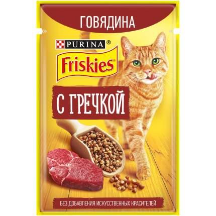 Влажный корм для кошек Friskies, с говядиной и гречкой в подливе, 24шт по 75г