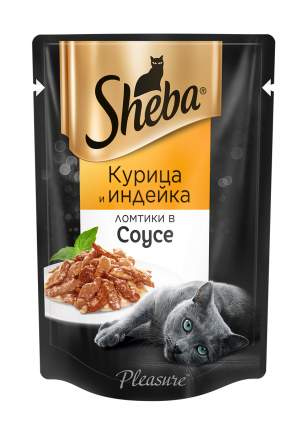 Влажный корм для кошек Sheba Pleasure ломтики из курицы и индейки в соусе, 24 шт по 85г