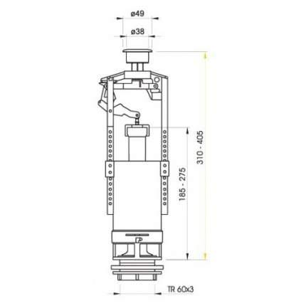 Сливная арматура для бачка ALCA PLAST A2000