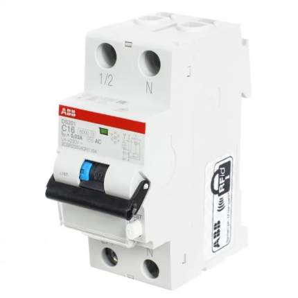 Дифференциальный автоматический выключатель ABB DS201 1 мод. 16А 30mA 6кА(А) хар.С