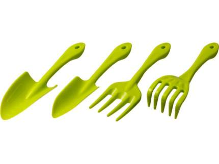 Набор садовый, пластиковый, 4 предмета (вилка, грабельки, 2 совка)
