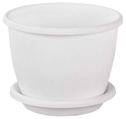 """Горшок цветочный """"Афина"""" с поддоном, 1,1 литра (белый)"""