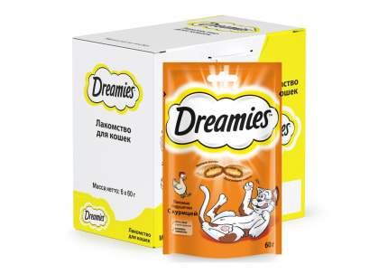 Лакомство для кошек Dreamies, Лакомые подушечки с курицей, 6 шт по 60г