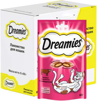 Лакомство для кошек Dreamies, Лакомые подушечки с говядиной, 6 шт по  60г