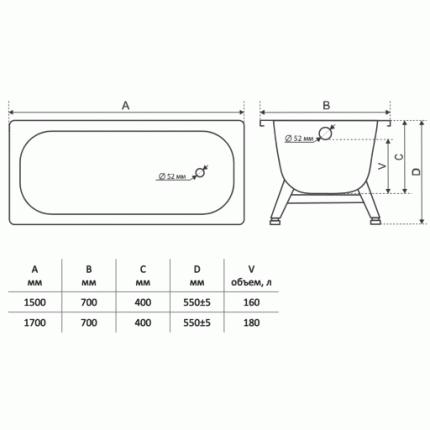 Ванна стальная ВИЗ Tevro Т-72902 170x70