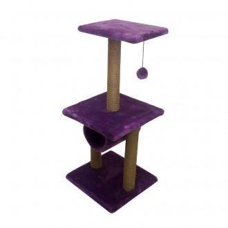 Комплекс Zooexpress Этажерка с трубой, меховой однотонный для кошек 40 х 40 х 100 см