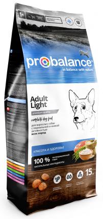 Сухой корм для собак Probalance Adult Light, контроль веса, 15 кг