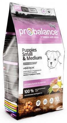 Сухой корм для щенков ProBalance Immuno Puppies Small & Medium, курица, 10кг