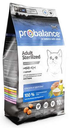 Сухой корм для стерилизованных кошек и кастрированных котов Probalance Sterilized, 10 кг