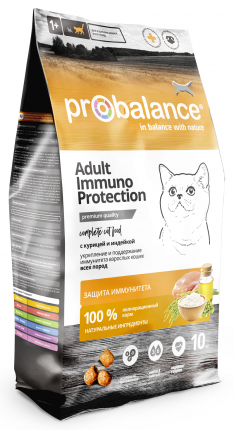 Сухой корм для кошек ProBalance Immuno Protection, для иммунитета, курица и индейка, 10кг