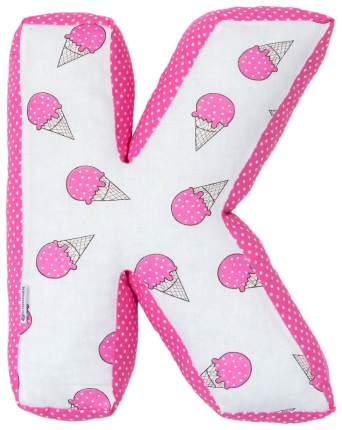 "Мягкая буква подушка ""К"" 35х26 см, розовый, 100% хлопок, холлофайбер Крошка Я"