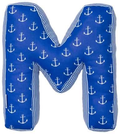 """Мягкая буква подушка """"М"""" 35х32 см, синий, 100% хлопок, холлофайбер Крошка Я"""