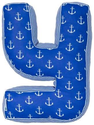 """Мягкая буква подушка """"У"""" 35х26 см, синий, 100% хлопок, холлофайбер Крошка Я"""