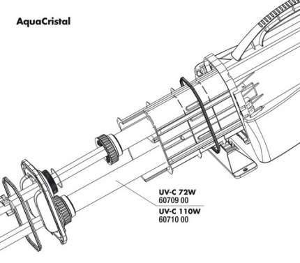 Кварцевая колба JBL fused silica insert для УФ-стерилизатора AquaCristal UV-C 72W