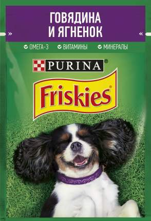 Влажный корм для собак Friskies , кусочки с говядиной и ягненком в подливе, 85г